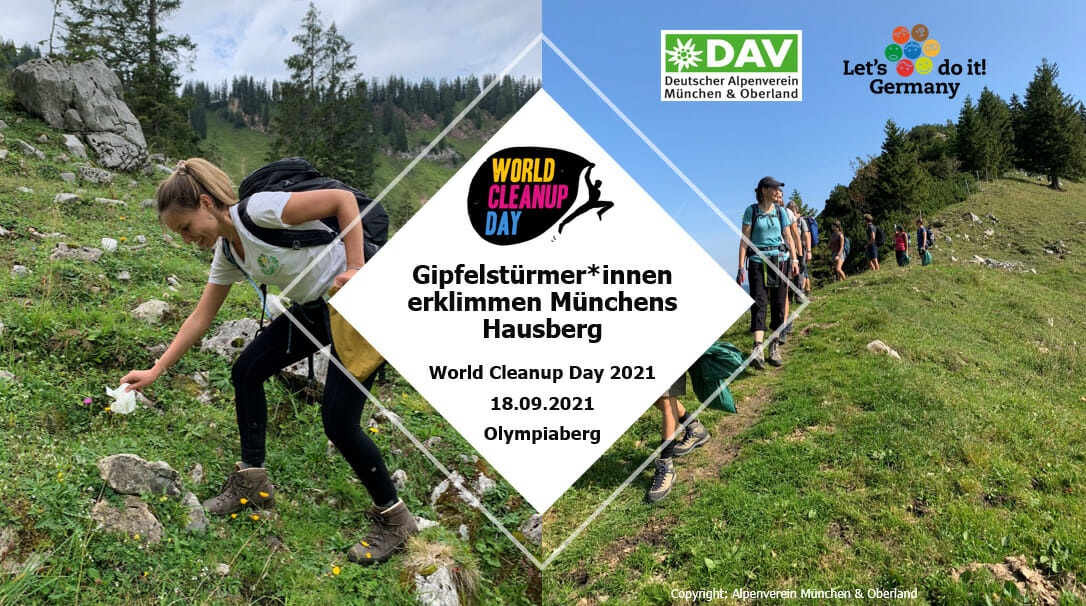 Gipfelstürmer*innen erklimmen Münchens Hausberg - World Cleanup Day 2021 am Olympiaberg (Bayern)